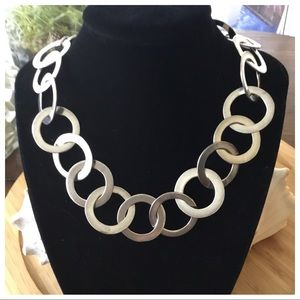 "Vintage Sterling Silver Hoop Necklace 16"" Amazing"